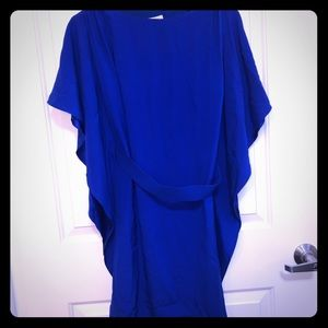 Blue Shift Dress with Tie
